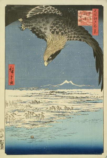 Fine Art Print  Eagle Over 100,000 Acre Plain at Susaki, Fukagawa ('Juman-tsubo'), from the series '100 Views of Edo' ('Meisho Edo hyakkei'), pub. by Uoya Eikichi, 1857, (colour woodblock print)