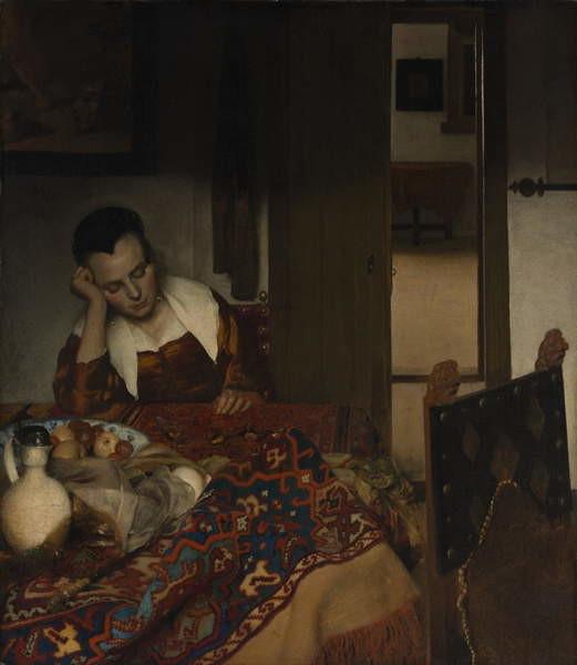Fine Art Print  Girl asleep at a table, 1656-57