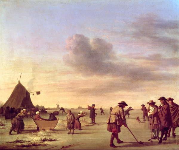 Fine Art Print Golfers on the Ice near Haarlem, 1668
