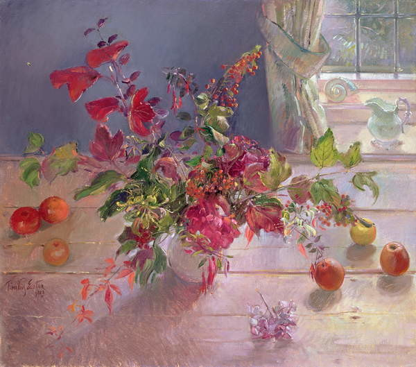 Honeysuckle and Berries, 1993 Canvas Print