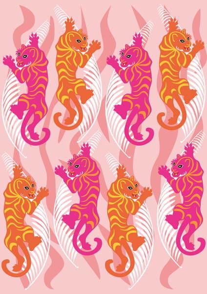 Canvas Print Hot Pink Tiger