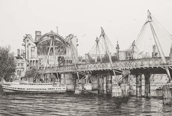 Fine Art Print Hungerford Bridge London, 2006,