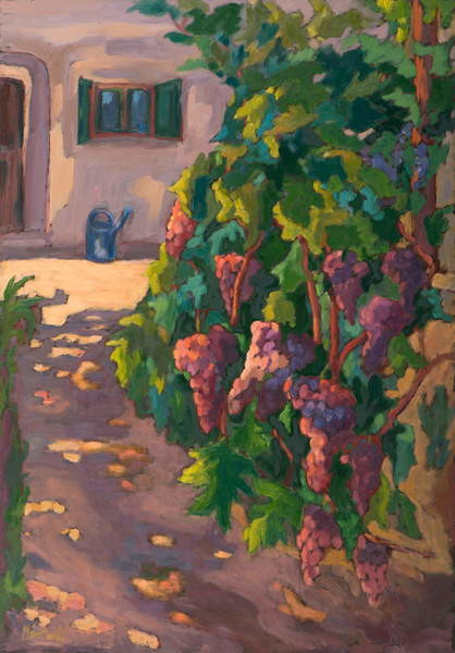 In the Vineyard,  oil on board Canvas Print