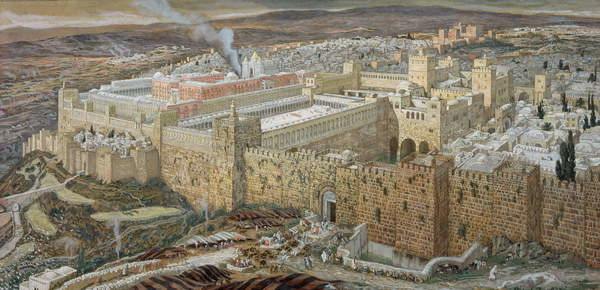 Fine Art Print Jerusalem and the Temple of Herod in Our Lord's Time, illustration from 'The Life of Christ', c.1886-94 (w/c & gouache on paperboard)
