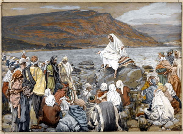 Jesus Teaches the People by the Sea, illustration for 'The Life of Christ', c.1886-96 Canvas Print