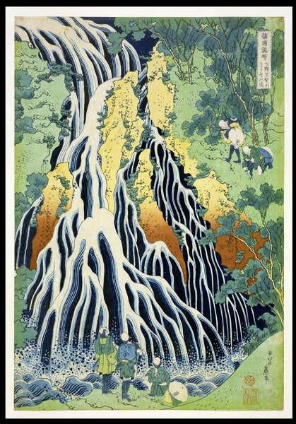 Fine Art Print  Kirifura Fall in Kurokawa Mountain', from the series 'A Journey to the Waterfalls of All the Provinces' ('Shokoku taki meguri') pub.by Nishimura Eijudo, c.1832