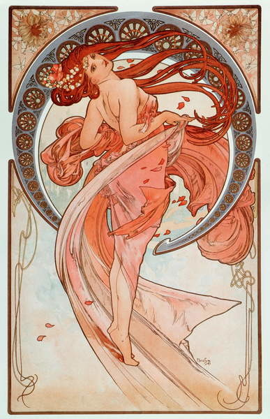 """Fine Art Print La danse Lithographs series by Alphonse Mucha , 1898 - """""""" The dance"""""""" From a serie of lithographs by Alphonse Mucha, 1898 Dim 38x60 cm Private collection"""