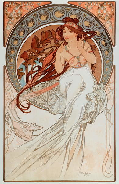"""Fine Art Print La musique Lithographs series by Alphonse Mucha , 1898 - """""""" The music"""""""" From a serie of lithographs by Alphonse Mucha, 1898 Dim 38x60 cm Private collection"""