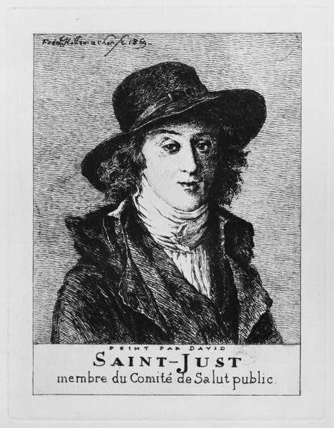 Fine Art Print  Louis Antoine Leon de Saint-Just, engraved by Frederic Desire Hillemacher (1811-86) 1869