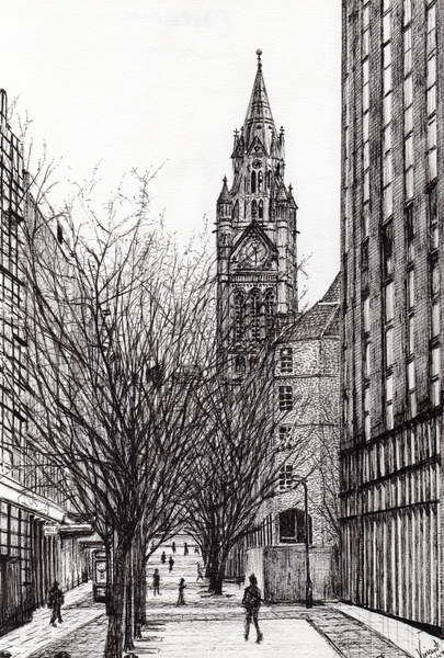Fine Art Print Manchester Town Hall from Deansgate, 2007,