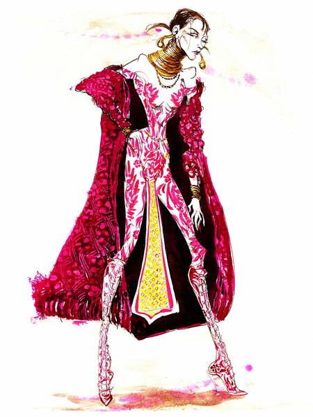 Fine Art Print Model wearing a catsuit and fur coat