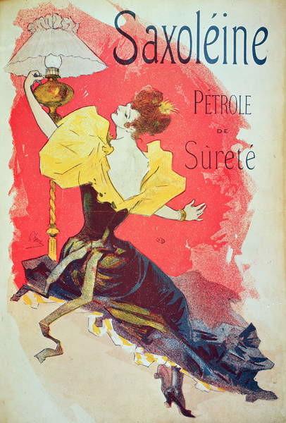 Fine Art Print Poster advertising 'Saxoleine', safety lamp oil