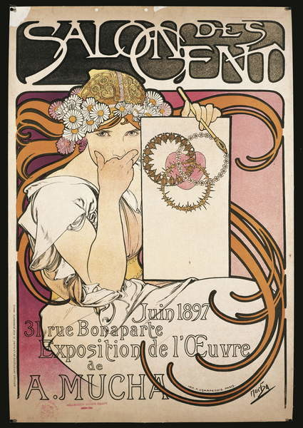 Fine Art Print Poster advertising the exhibition of A. Mucha at the Salon des Cent, 1897