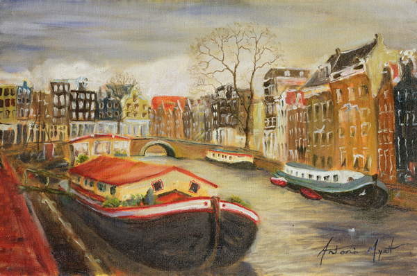 Red House Boat, Amsterdam, 1999 Canvas Print