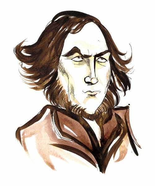 Fine Art Print, Reproduction Robert Browning - caricature of English poet