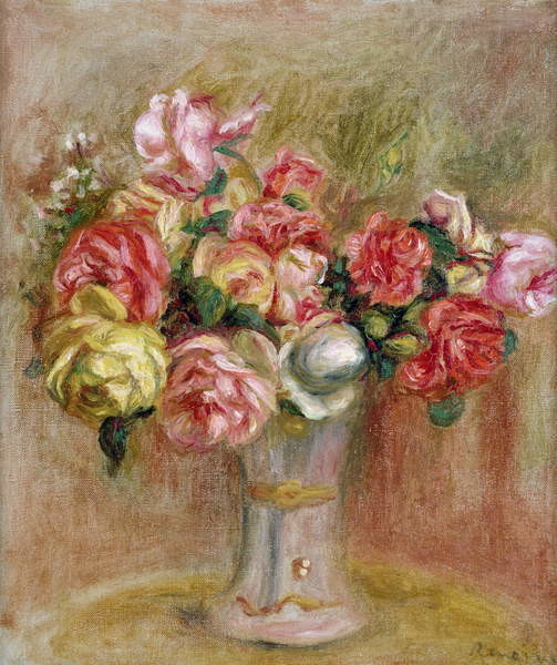 Roses in a Sevres vase Canvas Print