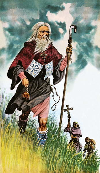 Fine Art Print  Saint Patrick takes God's message across Ireland on foot