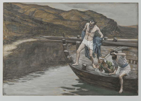 Fine Art Print Saint Peter Alerted by Saint John to the Presence of the Lord Casts Himself into the Water, illustration from 'The Life of Our Lord Jesus Christ', 1886-94