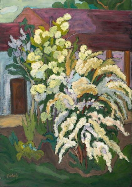 Shrubbery in Bloom  oil on board Canvas Print