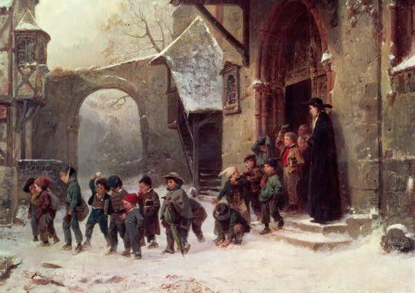 Fine Art Print Snow Scene: Children Leaving School, c.1853