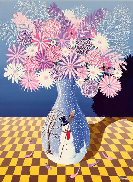 Snowman Vase Canvas Print