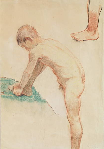 Fine Art Print Study of a boy and a foot, 1888 (red chalk, charcoal & pastel on beige paper)
