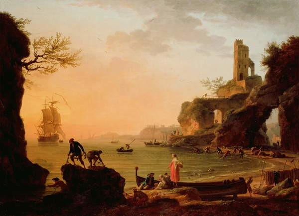 Fine Art Print Sunset, Fishermen Pulling in Their Nets, 1760