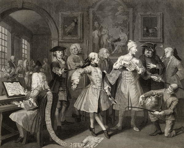 Fine Art Print Surrounded by Artists and Professors, plate II from 'A Rake's Progress', from 'The Works of William Hogarth', published 1833