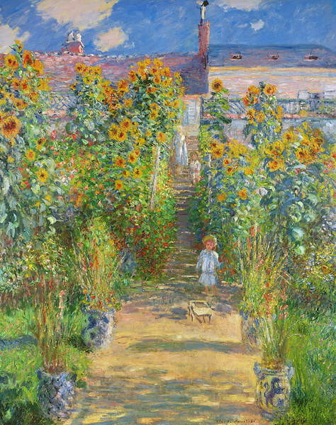 The Artist's Garden at Vetheuil, 1880 Canvas Print
