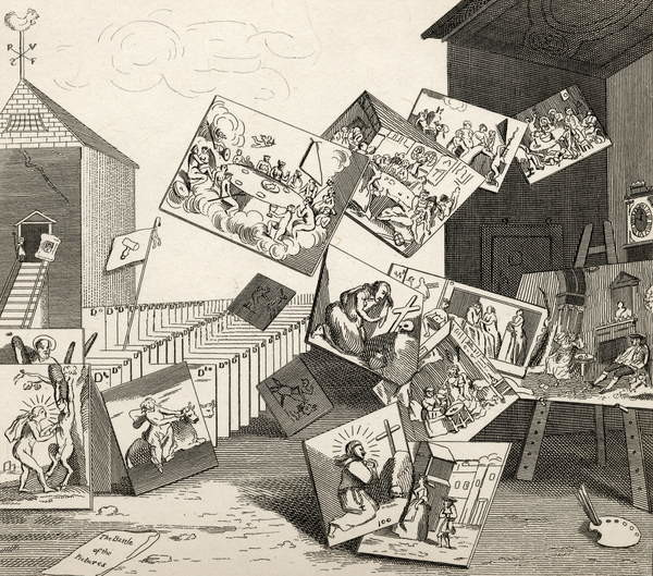 Fine Art Print  The Battle of the Pictures, from 'The Works of Hogarth', published 1833