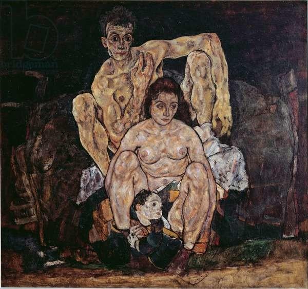 Fine Art Print The family. Painting by Egon Schiele , 1917. Oil on canvas. Dim: 152,5x191,8cm. Vienna, Oesterreichische Galerie im Belvedere