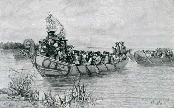Fine Art Print  The Landing of Cadillac, illustration from 'The City of the Strait' by Edmund Kirke, pub. in Harper's Magazine, 1886