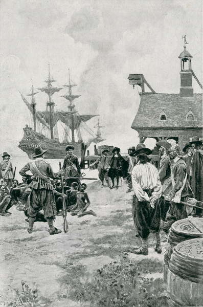 Fine Art Print  The Landing of Negroes at Jamestown from a Dutch Man-of-War, 1619, illustration from 'Colonies and Nation' by Woodrow Wilson, pub. in Harper's Magazine, 1901