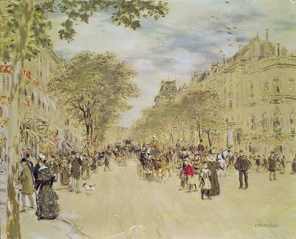 Fine Art Print The Pavillon de Hanovre and the Boulevard des Italiens, Paris, after 1870