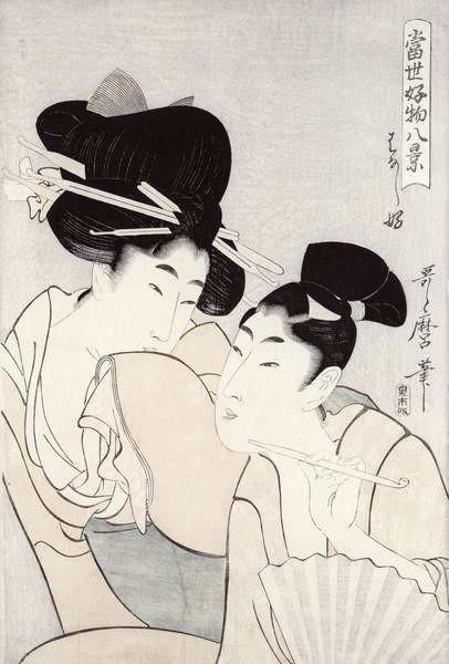 Fine Art Print The pleasure of conversation, from the series 'Tosei Kobutsu hakkei' (Eight Modern Behaviours) c.1803