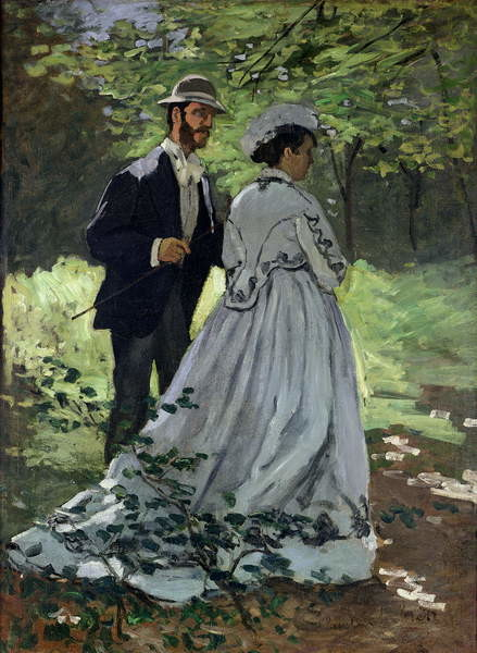 The Promenaders, or Claude Monet Bazille and Camille, 1865 Canvas Print