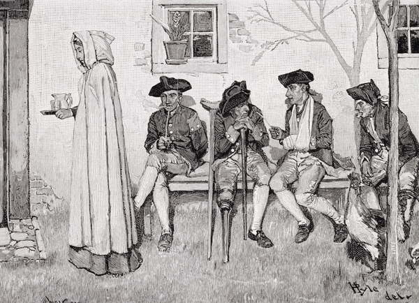 Fine Art Print  'The Wounded Soldiers Sat Along the Wall', illustration from Harper's Magazine, October 1889