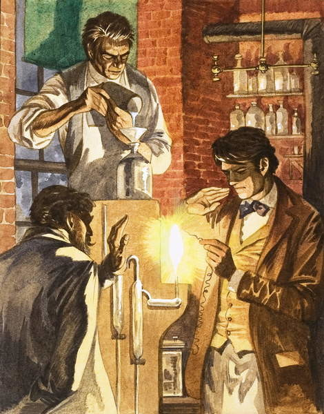 Thomas Edison and Joseph Swan create the electric light Canvas Print