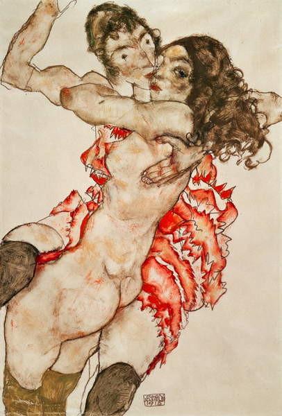 Fine Art Print Two Women Embracing, 1915