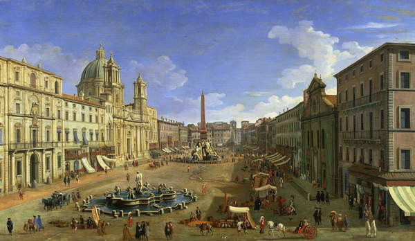 Fine Art Print View of the Piazza Navona, Rome