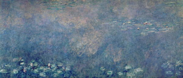 Fine Art Print Waterlilies: Two Weeping Willows, centre left section, c.1915-26 (oil on canvas)