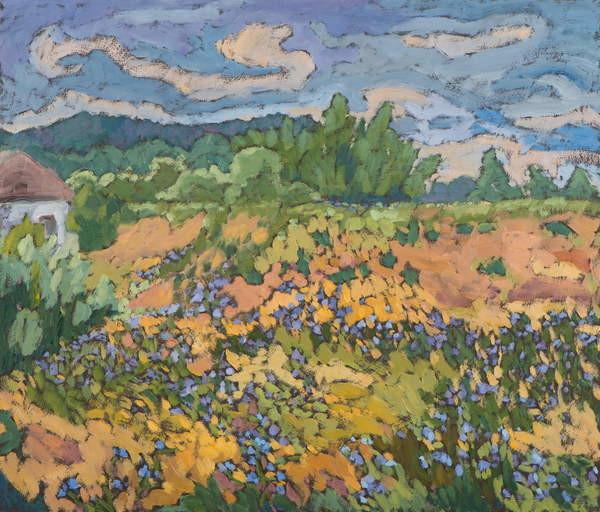 Fine Art Print Wild Flowers on the Dyke Bank  60*70 cm,oil on board