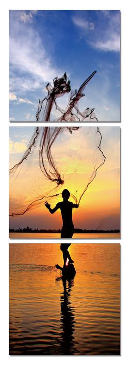 Fishing at Sunrise Tableau Multi-Toiles