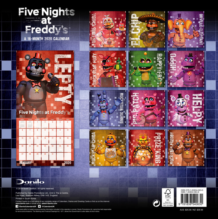 Images of Five Nights At Freddys 2021 Calendar