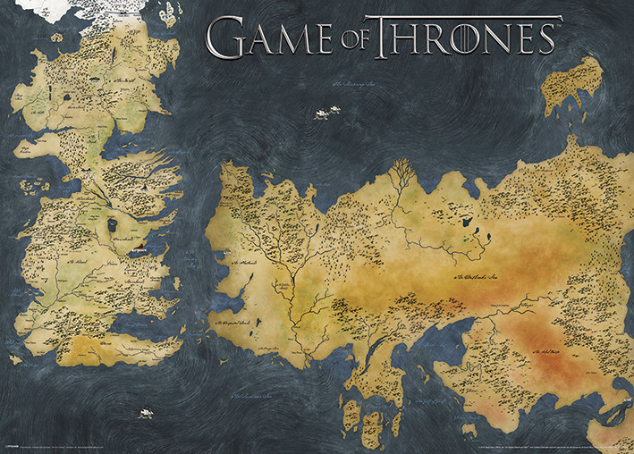 Game of Thrones - Westeros and Essos Antique Map Posters Metálicos