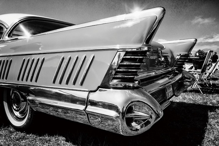 Glass Art Cars - Black and White Cadillac