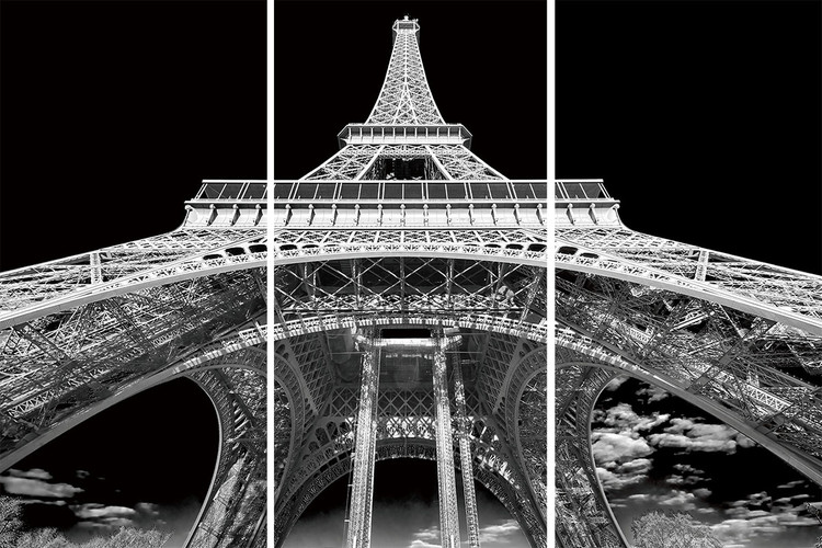 Glass Art Paris - Eiffel Tower b&w study