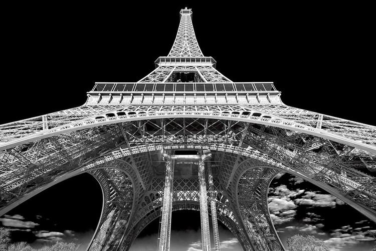 Glass Art Paris - Eiffel Tower b&w study