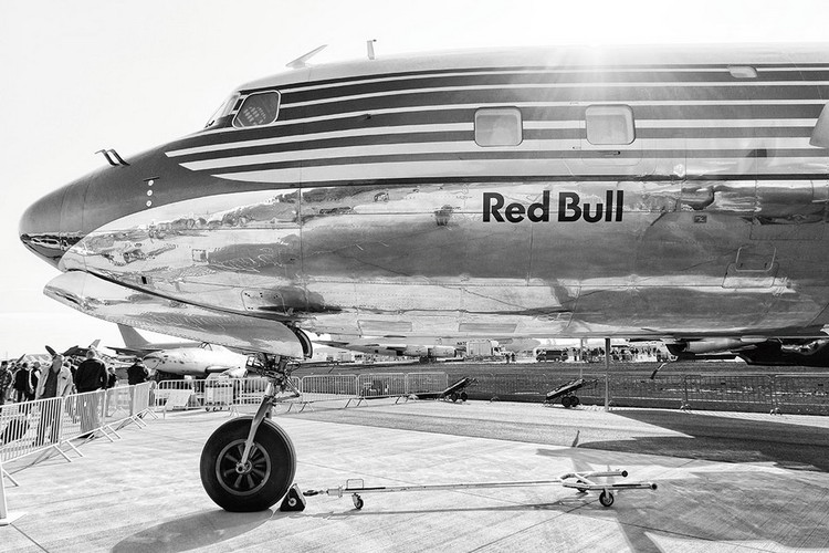 Glass Art Plane - Red Bull