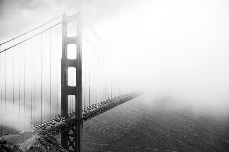 Glass Art San Francisco - Golden Gate in Mist